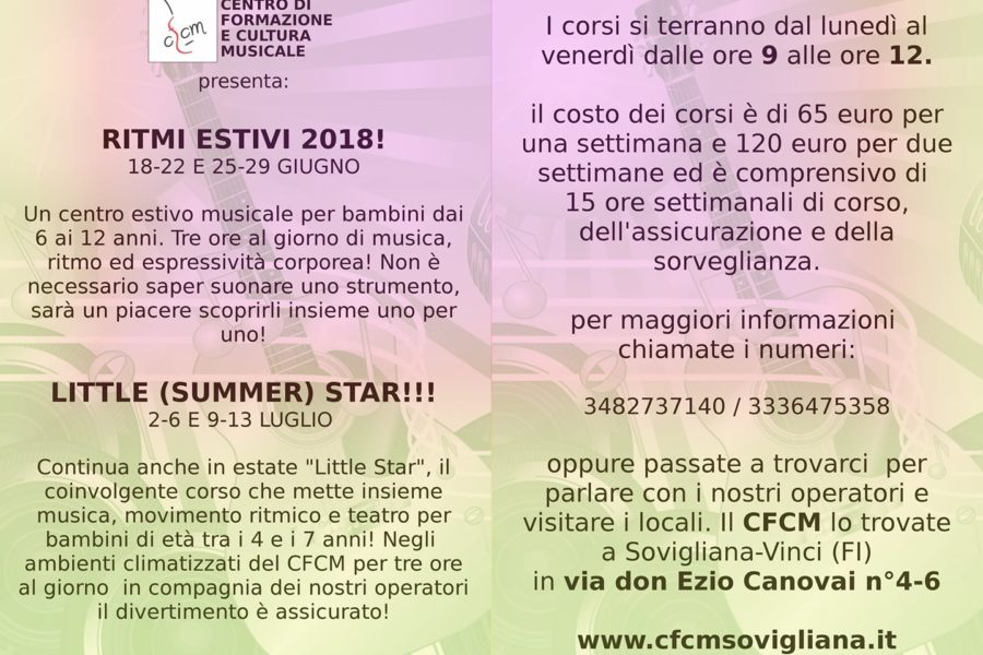 CentriEstiviMusicali2018! e LITTLE (SUMMER) STAR